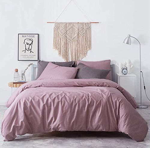 Jameswish Blush Pink Gray Plaid Duvet Cover Queen Set Modern Dusty Rose Grid Gingham Geometric Checker Reversible Bedding Set Soft Microfiber Check Comforter Quilt Covers Men Women,3pcs