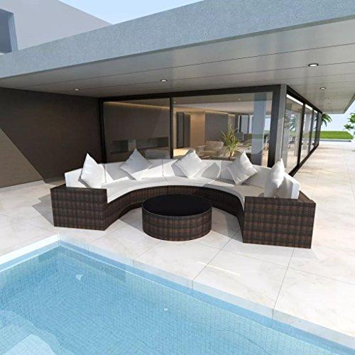 lingjiushopping Set Sofa halbrund Garten 17Stück Polyrattan braun Material: Stahlgestell pulverbeschichtet + PE Rattan + gehärtetem Glas Set von Möbel Gartentisch
