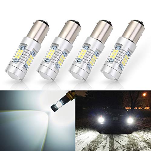 ANTLINE Extremely Bright 1157 1157A 2057 2357 7528 2057A BAY15D 21-SMD 2835 Chipsets 1260 Lumens LED Bulb Replacement White for Car Backup Reverse Brake Tail Turn Signal Lights Bulbs DRL (Pack of 4)