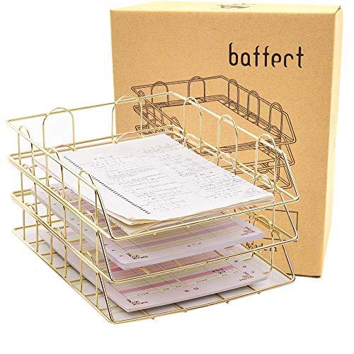 Baffect 3 Tier stapelbare A4 Ablagefachhalter, Briefablage Metall Briefpapierfach Datei Organizer Dokument Briefpapier für zu Hause Schule Büro verwenden (Gold)