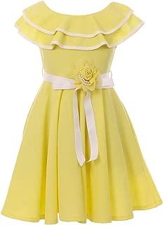 BNY Corner Sleeveless Ruffle Shoulder Graduation Wedding Flower Girl Dress USA