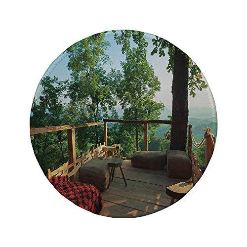 """Rutschfeste runde Mauspads aus Gummi Landhausdekoration Blick von der Holzterrasse im Wald mit idyllischer nicht städtischer Natur grün-braun-rot 7.9\""""x7.9\""""x3MM"""