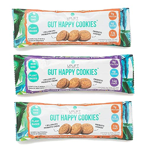 Uplift Food Fiber Supplement - Digestive Biscuit, Vegan, Low Carb, Grain Free, & Non GMO, Promoting Positive Gut Health & Digestion, Gut Happy Cookies - Variety Pack, 1.41 Ounce (Pack of 3)