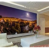 YCRY-壁紙チェコチェスキークルムロフ夜空満月3D 12月 -壁の装飾-ポスター画像写真-HD印刷-現代の装飾-壁画-400x280cm