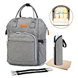 Multifunction Nappy Changing Bag, Large Capacity Travel Baby Changing Rucksack Tote Reusable , Lightweight Stylish Durable Backpack with Bottle Insulated Pocket for Mommy and Dad (Grey) …