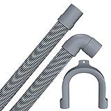 Manguera de desagüe flexible para lavadora y lavavajillas, 1,5 m, 19/22 mm, conexión en ángulo recto/ángulo con grillete