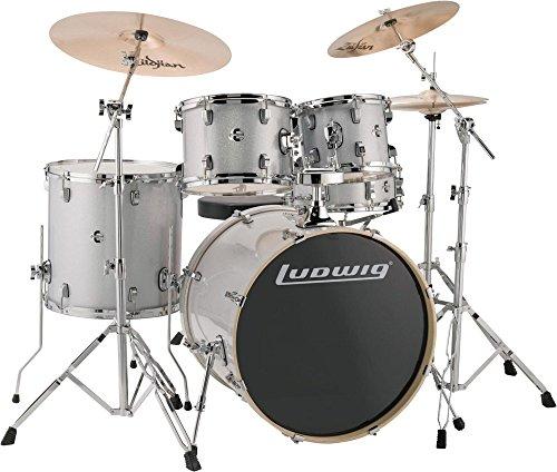 Ludwig LCEE22028 Evolution Drum Kit w/Hardware, Silver/White Sparkle