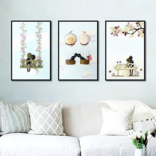 juou Paar Liebe Schaukel Kombination Poster Leinwanddruck Wand Nordic Minimalist Style Art Modular Wohnzimmer Schlafzimmer Home Painting 30x40cm-3Pcs Frameless