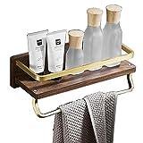 Estante de baño para ducha de madera montado en la pared con toallero acabado...