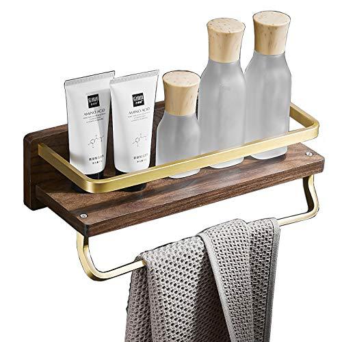 Estante de baño para ducha de madera montado en la pared con toallero acabado cepillado dorado