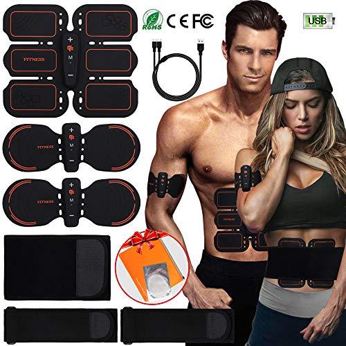 Popolic EMS Bauchmuskeltrainer Muskelstimulator, USB Wiederaufladbar ABS Elektrische Muskelstimulation Home Fitness Trainingsgerät für Herren und Damen (Orange-verstärkter Bauch)