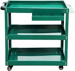 BoeWan Tool Trolley Workbench Metal Service Utility Cart Heavy Duty Supply Cart with Three Storage Tray Shelves Tool Troll...