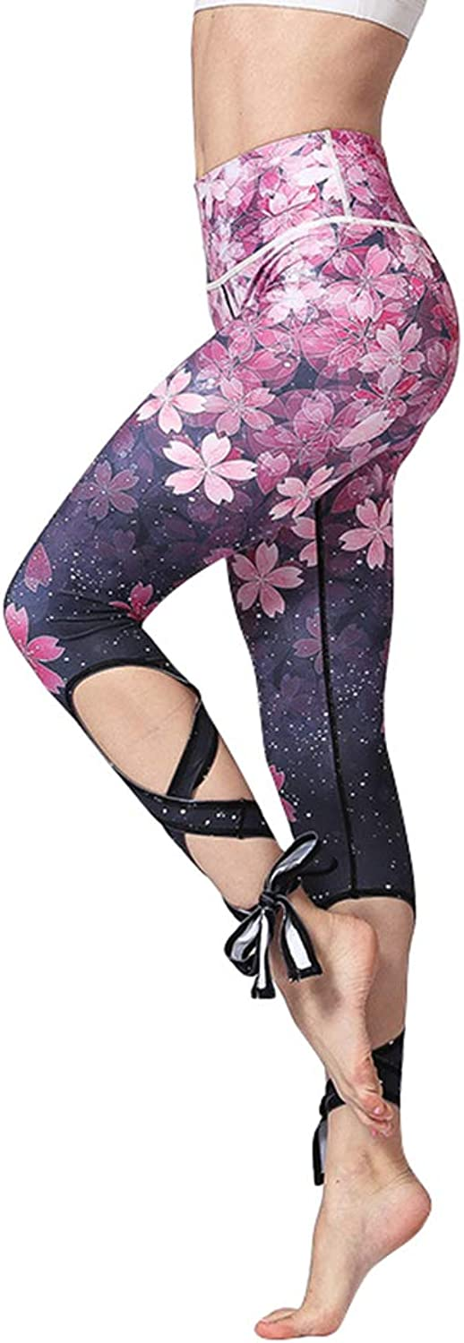 KEVIN POOLE Yoga Pants Nine Strap Female Printing QuickDrying Breathable Fitness Running Pants Women (color   Pink, Size   S)