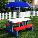 Deuba Kids Children Table Bench Set Picnic Garden Patio Parasol Child Outdoor Furniture
