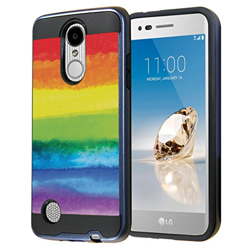 Capsule Case for LG Aristo, Fortune, Phoenix 3 [Cute Dual Layer Heavy Duty Slim Protection Tough Case Black Blue] for LG Aristo, K4 2017, K8 2017 - (Pride Flag)