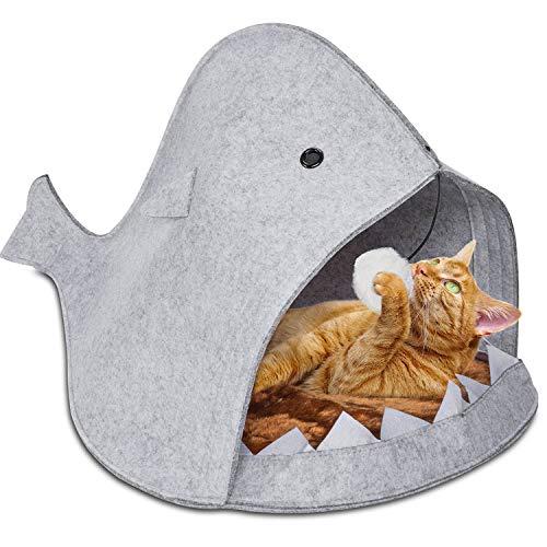 GOODS+GADGETS Hai Katzenkörbchen aus Filz Katzen-Höhle - Lustiges Hunde-Körbchen Hunde-Bett Katzenbett Katzen-Korb Katzenkissen graue Katzenhöhle für Hund & Katzen
