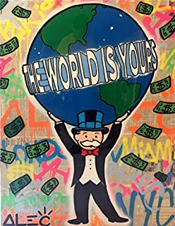 Artcgc Alec Monopoly The world is yours Wall Art Home Wall Decorations for Bedroom Living Room Oil Paintings Canvas Prints 2 Sizes-117 (Framed,18x24inch)