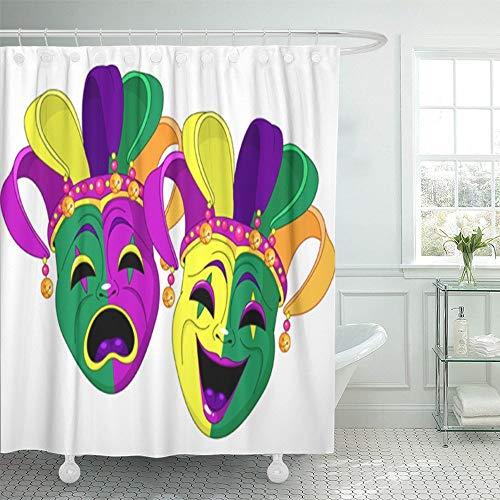 N\A Duschvorhang wasserdicht lila Karneval Karneval Komödie & Tragödie Masken Green Orleans Cartoon Theater Home Decor Polyester Stoff Verstellbarer Haken