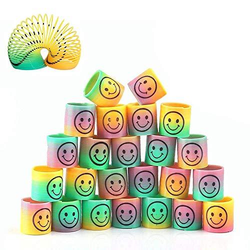 24 Piezas Mini Juguetes de Muelle de Arco Iris, Mágico Colorido Muelles Ideales para Cumpleaños Regalos de Fiestas Infantiles, Rellenar Bolsas de Fiesta, Calcetines de Navidad, Premios de Clase