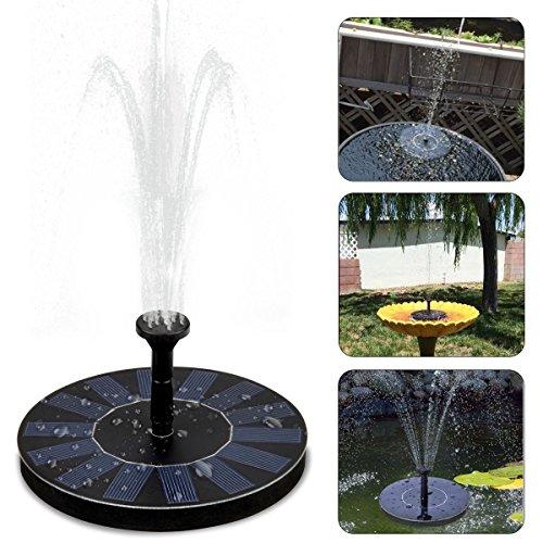 UBEGOOD Solar Springbrunnen, Solar Teichpumpe mit 1.4W Monokristalline Solar Panel Freie stehende Brunnen und pumpe Solar Wasserpumpe für Gartenteich,Vogel-Bad, Fisch-Behälter, Kleiner Teich