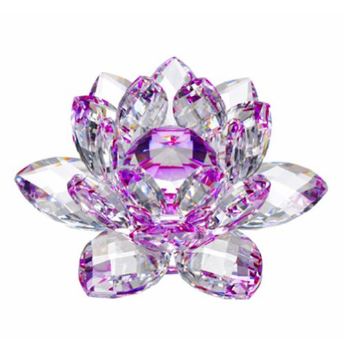 Amlong Crystal Hue Reflection Crystal Lotus Flower with Gift Box, Purple 5 Inch