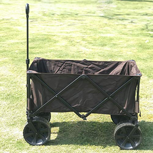 WYLDDP Garden Trolley Cart, camión de Playa, Carga máxima de 80 kg con Ruedas de Goma y Frenos (Negro) para Usar en campamentos, Pesca, Compras, Picnic de Barbacoa