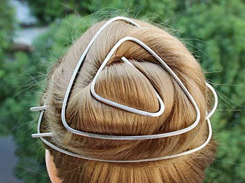 2017 Celtic Silver Triangle Hair Bun Holder Hair Clip Hair Fork Women Gift.