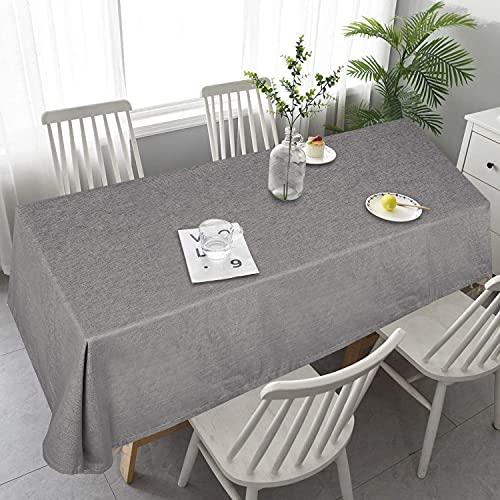 OOYCYOO Tischdecke Leinenoptik Wasserabweisend Tischwäsche pflegeleicht Abwaschbar Tischtücherschmutzabweisend Farbe & Größe wählbar Eckig 130x180 cm Grau