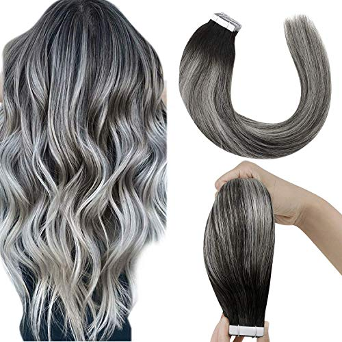 """LaaVoo Tape in Hair Extensions Human Hair Ombre Black Tape in Remy Human Hair Extensions Balayage Black Ombre Silver Grey Tape ins Black Hair Extensions Silky Straight Glue in Skin Weft 50g 20pcs 22"""""""