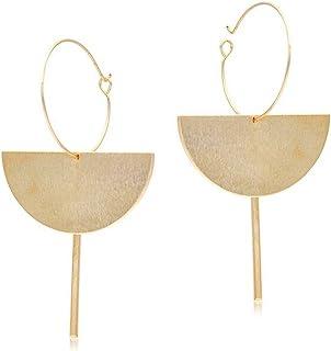 Fashion Exaggerated 18K Gold Geometric Multi-layer Half Circle Dangle Drop Earring for Women