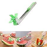 Molino de viento cortador de sandía, acero inoxidable, cortador de sandía, cuchillo de fruta, novedad de cocina, herramienta de regalo
