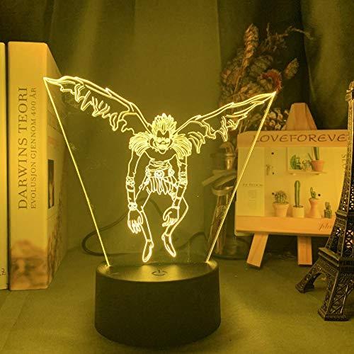Luz nocturna 3D de anime, lámpara de noche de anime, lámpara de noche LED para anime Room Store, idea genial para niños o dormitorio, lámpara de mesa Ryuk figura HAFS