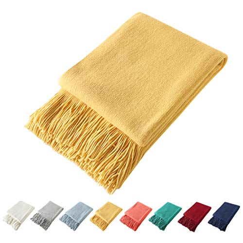 Homiest Decorative Knitted Throw Blanket with Fringe Soft & Cozy Tassel Blanket for Couch Sofa Bed (Yellow,50x60)