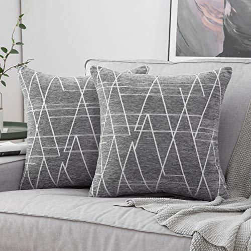MIULEE 2 Piezas Fundas de Cojines para sofá Gamuza Sintética Almohada Caso de Diseño Geométrico Decorativas Fundas Cojines para Habitacion Juvenil Sofá Comedor Cama 40x40cm Gris