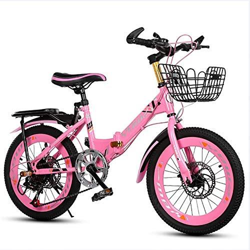 XIAOFEI Bicicletta Pieghevole Bambini Maschio E Femmina 6-10 Anni Dual Disco da 18 Pollici da 20 Pollici da 22 Pollici Bike Mountain Brake 6 Speed Biciclette da Studente Adatta,Rosa,20'