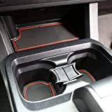JDMCAR Liner Accessories Compatible with Toyota Tacoma 2016 2017 2018 2019 2020 2021 Custom Fit Cup and Door Center Console Inserts (Double Cab, Red Trim)