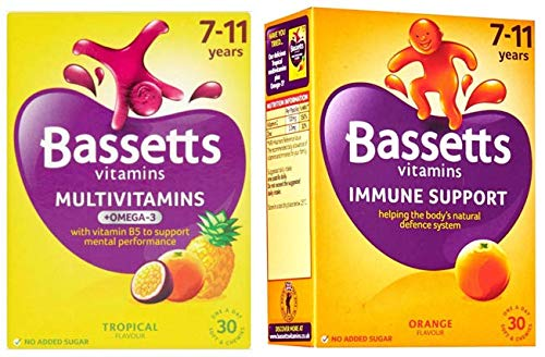 Bassetts Multivitamins Kids 7-11 Tropical Flavour and Orange Flavour x2 Bundle