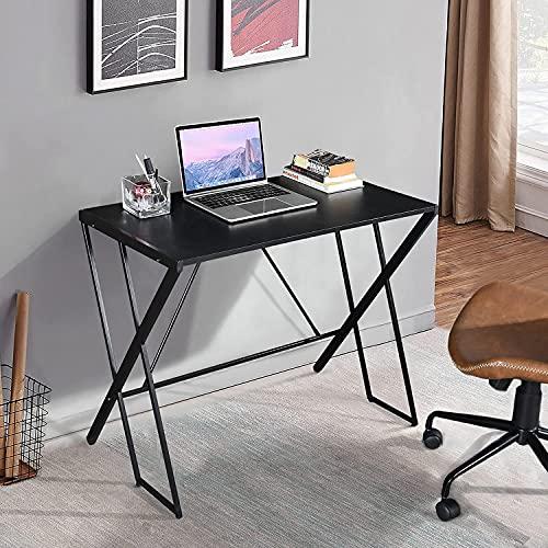 GOMYHOME Escritorio para computadora Moderno y minimalista Estación de trabajo Mesa para computadora portátil Escritorio para estudiantes Escritorio para tareas de escritura Mesa de esquina para oficina en casa, Negro