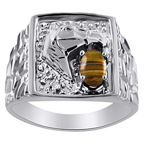 Diamond & Anillo de ojo de tigre 14K amarillo o 14K oro blanco pulsera de la cabeza de caballo