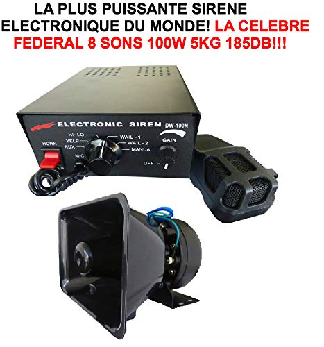 The Rolls Royce des Sirenes 185DB. The Famous Official Federal Police and Fire Brigade Ny. 12V 185DB with 100W Amp. Professional. Materiel RAID Preparation 4x4Faucet DONALDSON Topspin Snorkel