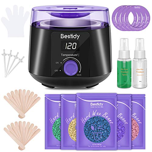 Bestidy Waxing Kit Wax Warmer Wax Beads Hot Wax Hair Removal for Women and Men with 5 packs Hard Wax Beans, At Home Waxing Kit for Underarms,Eyebrow, Facial,Bikini,Legs,Chest, Brazilian