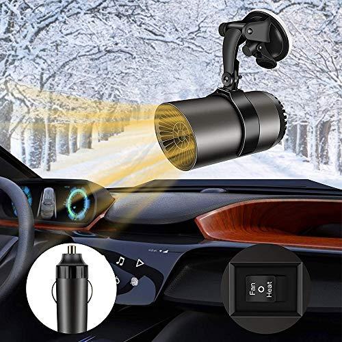JIEPOLLY Auto Heizlüfter, 12V 150W Auto Heizung Defroster mit 360 Grad Drehhalter