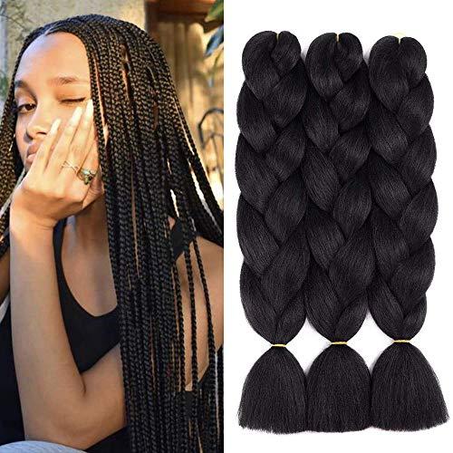 3pcs/lot Black Braiding Hair Ombre Jumbo Braiding Hair Extension Kanekalon High Temperature Jumbo Braids for Twist Crochet Braiding Hair(3PCS, Black)