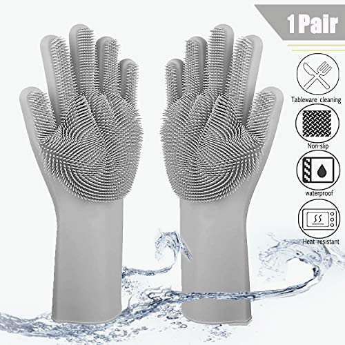 HOPESEAMagic Silicone Diswashing Gloves,Silicone Gloves Washing up,Kitchen Hand Gloves,Household Cleaning Gloves,Fit for Cleaning,Washing,Heat Resistant,Pet Grooming and Hand Protection.[Gray]