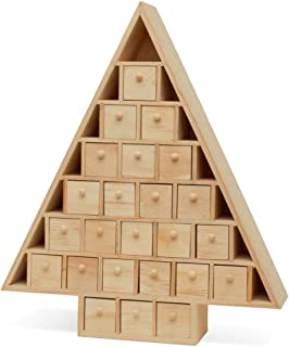 Wooden Advent Calendar Tree with Drawers, Christmas DIY Advent Calendar to Decorate, Pre Assembled, 15 Inch x 13 Inch, by Woodpeckers