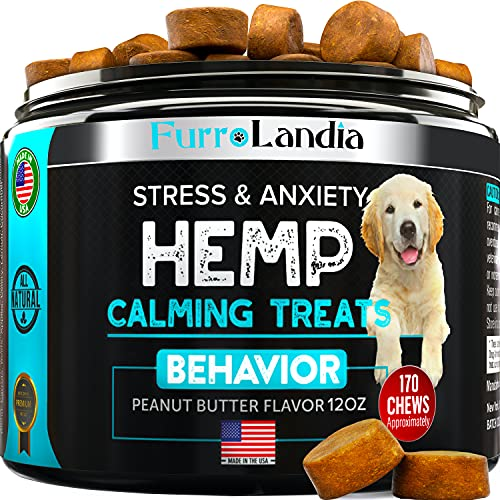 Hemp Calming Treats for Dogs - Stress and Anxiety Relief - 170 Soft Chews - Made in USA - Hemp Oil for Dogs - Natural Calming Aid - Separation - Stress - Storms - Fireworks | Aggressive Behavior
