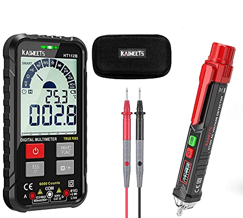 KAIWEETS Digital Multimeter Auto-Ranging 6000 Counts & KAIWEETS Voltage Tester HT100 Non Contact AC Electricity Detect Pen 12V-1000V/48V-1000V Dual Range