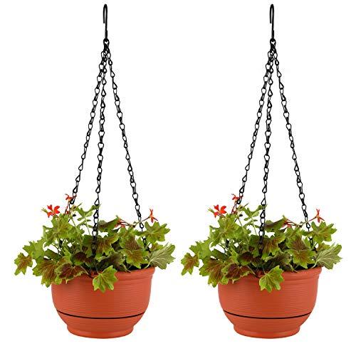 T4U 23cm Plastik Selbstbewässerung Blumenampeln Terrakotta Braun 2er-Set, Hängepflanztöpfe mit Wasserspeicher für Innen- und Außenbereich