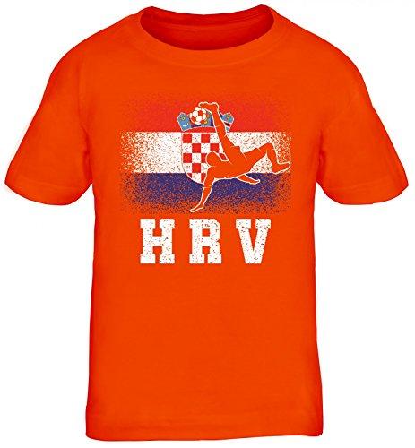 Hrvatska Kroatien Fußball WM Fanfest Gruppen Kinder T-Shirt Rundhals Mädchen Jungen Croatia Football Player, Größe: 110/116,orange