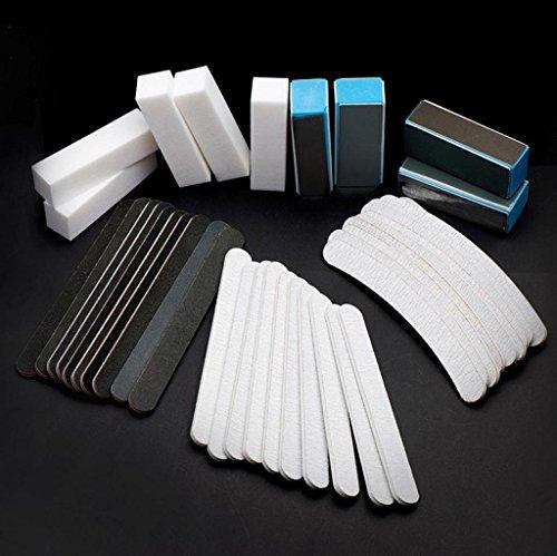 Vovotrade 40PCS ongle art de Ponçage des Fichiers Bloc Tampon Manucure Outils Pédicure Gel UV Ensemble